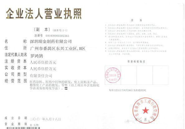 China Shenzhen RuiJin Pharmaceutical Co.,Ltd Certifications